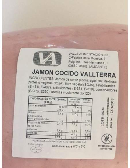Jamon cocido Vallterra natural 7 kg.