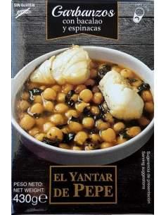 Grão-de-bico com bacalhau e espinafre de Yantar de Pepe