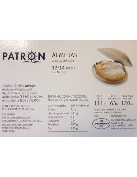 Patron natural clams RR-120