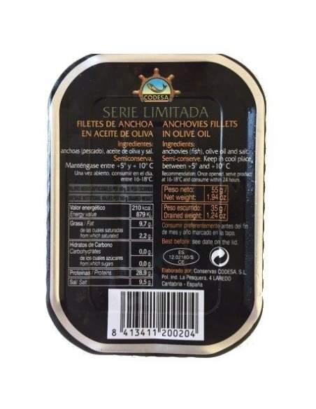 Filetes de anchoa Codesa 1/6 lin. negra limitada