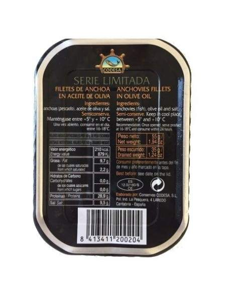 Filetes de anchoa Codesa 1/6 lin. negra limitada