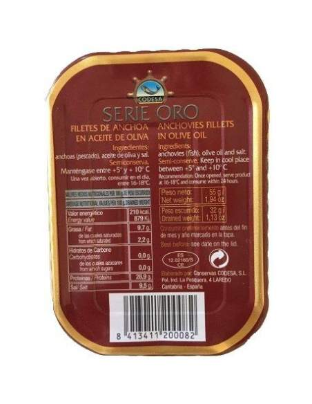 Anchoas Codesa Serie Oro 8/10 filetes.