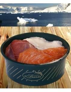 Salat von geräuchertem gesalzenen Fisch El Duende Glas von 1 kg.