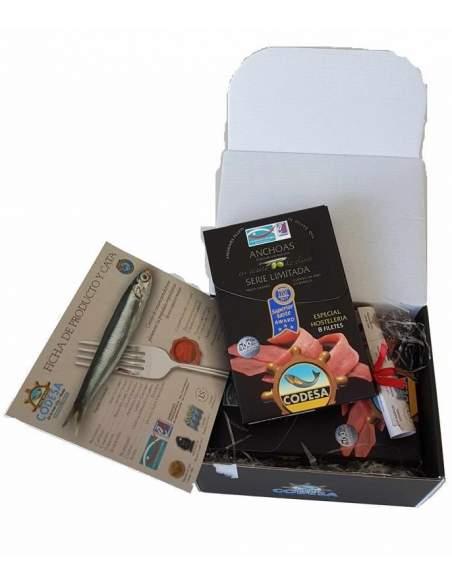Box mit 4 Dosen Sardellen Codesa Limited Serie LH-120 8 Sardellenfilets pro Dose.