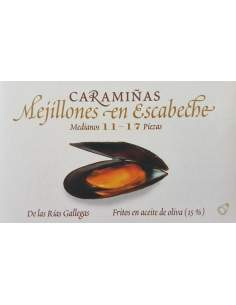 Mejillones en escabeche caramiñas Ramon Franco 11/17 piezas.