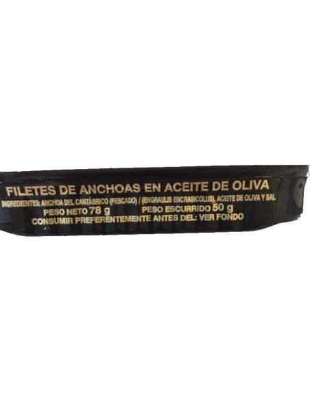 Filetes de anchoa Cantabrico  La Castreña, lata RR-80.