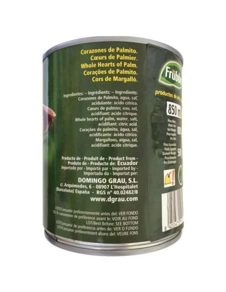 Palmito natural Frubbo lata de 1 kg.