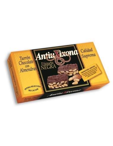 Nougat au chocolat avec amandes Antiu Xixona étiquette noire qualité suprême 200 g.