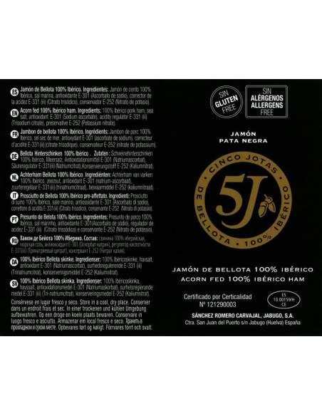 Jamon Iberico de bellota 5J Sanchez Romero Carvajal 8 Kg.