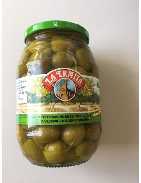 Cieza Manzanilla Olives 160/180 caliber glass jar 1 Kg.