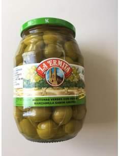 Manzanilla olive Cieza saveur d'anchois 160/180 pot de verre 1 Kg.