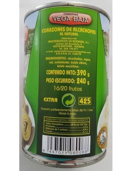 Vega Baja Artichoke Hearts 16/20 units.