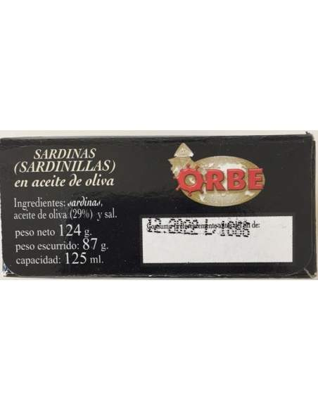 Orbe small sardines in olive oil 16/20 units.