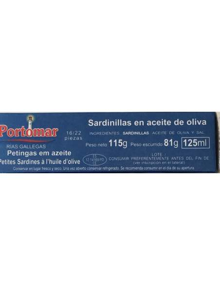 Portomar small sardines in olive oil 16/22 units.