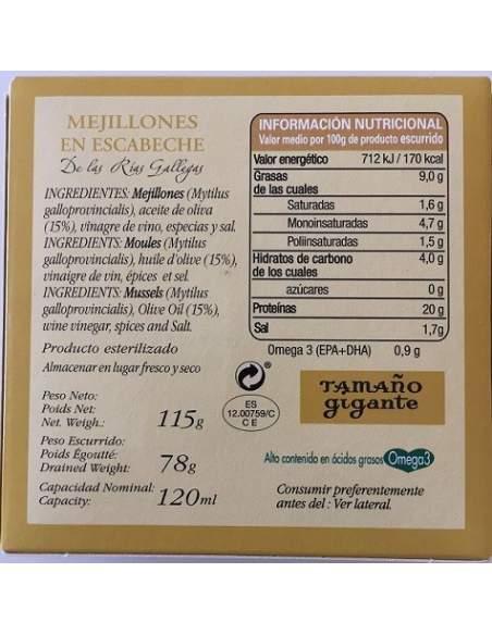Mejillones en escabeche Ramon Franco 4/6 piezas.