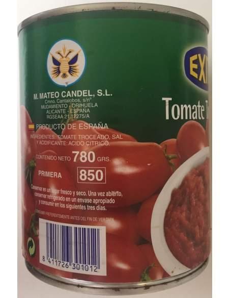 Bote de tomate troceado marca Éxito 1 kg.